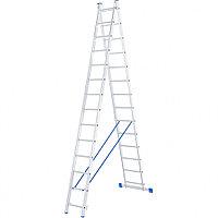 Лестница, 2 ступени по 14 ступеней, алюминиевая, двухсекционная, СИБРТЕХ, 97914