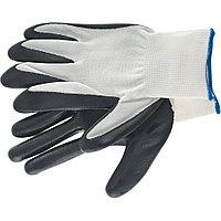 Перчатки маслобензостойкие полиэфирные с черным нитрильным покрытием, размер L, 15 класс вязки, Сибртех, 67861