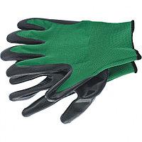 Перчатки маслобензостойкие полиэфирные с чёрным нитрильным покрытием, размер L, 15 класс вязки, Palisad, 67865