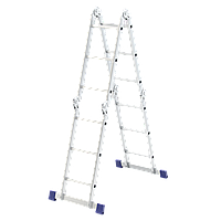 Лестница шарнирная из алюминия, 4 секции по 3 ступени, трансформер Сибртех, 97881