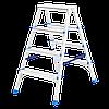Стремянка двусторонняя 4 ступени, из алюминия, Сибртех, 97924