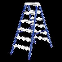 Стремянка двусторонняя 6 ступеней, из стали, Сибртех, 97936