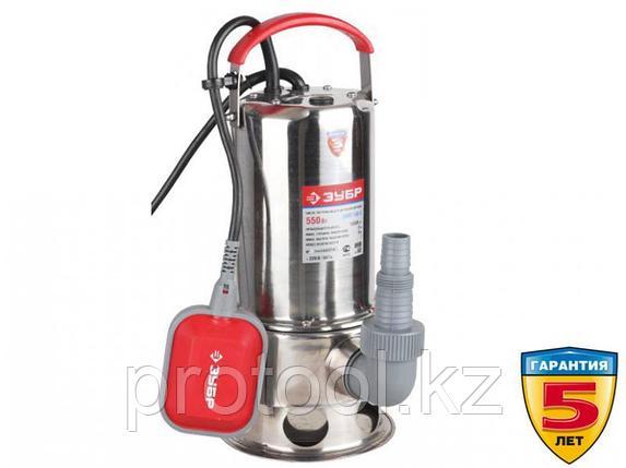 Насос погружной, ЗУБР, для грязной воды, корпус из нерж. стали, пропускн способность 230 л/мин, фото 2