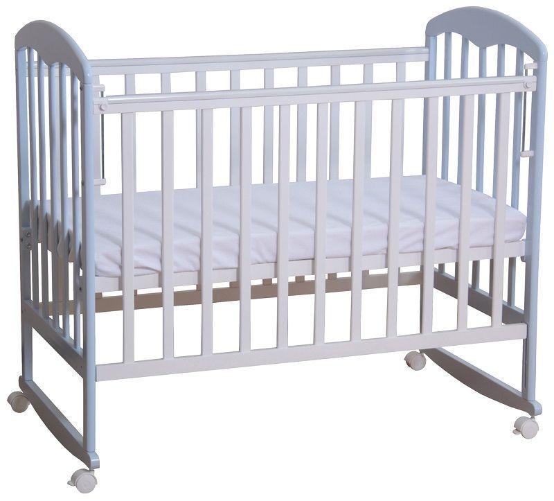 """Кровать детская Фея """"323"""", (белый-лазурь), состав - дерево (береза), колёса, """"Кнопка""""-механизм опускания"""