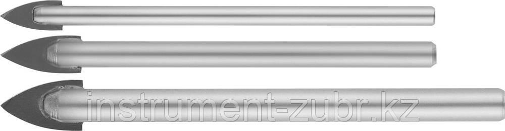 Набор сверл по кафелю, керамике, стеклу, с двумя режущими лезвиями, цилиндрический хвостовик, 3 шт: 5, 6, 8 мм, STAYER 2986-Н3