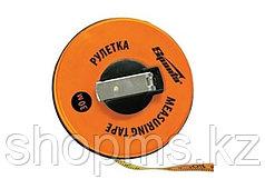 Рулетка геодезическая, 10 м х 12,5 мм, лента ПВХ, закрытый круглый корпус// SPARTA