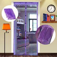 Магнитная противомоскитная сетка для окон и дверей 100 * 220 см (фиолетовая)