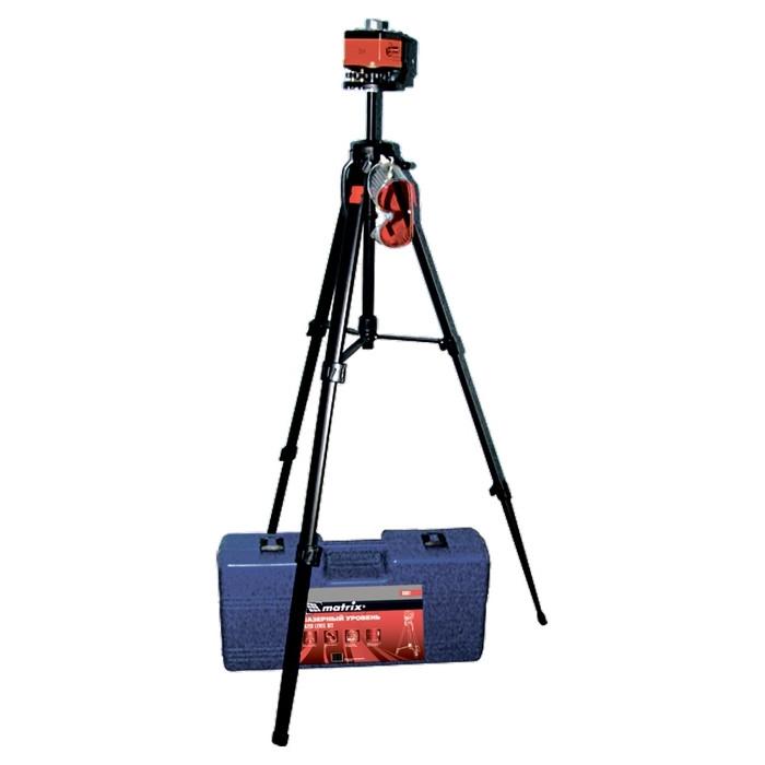Уровень лазерный, 100 мм, штатив 1300 мм, крутящ. голова ротац., набор в пласт.кейсе MATRIX MASTER