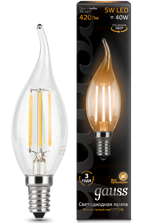 Лампа Gauss LED Filament Candle tailed 5W E14 2700K свеча на ветру