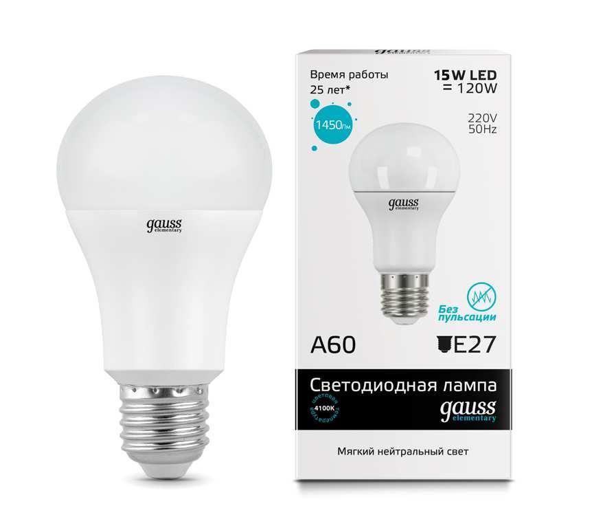 Лампа Gauss Elementary LED A60 15W E27 4100K 1/40