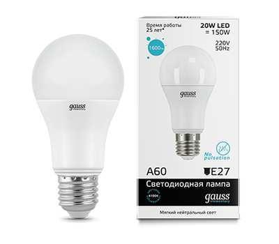 Лампа Gauss Elementary LED A60 20W E27 6500K 1/40