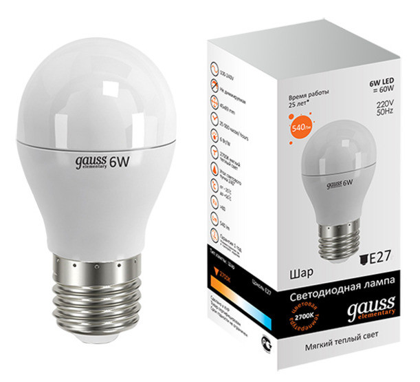 Лампа Gauss LED 6W E27 4100K