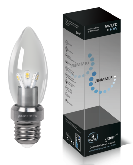 Лампа Gauss LED Globe Crystal clear 5WE27 4100K 1/10/100 диммируемая