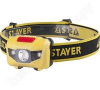 Налобный светодиодный фонарь 1Вт, 80Лм +2LED, 4 режима, 3ААА STAYER MASTER