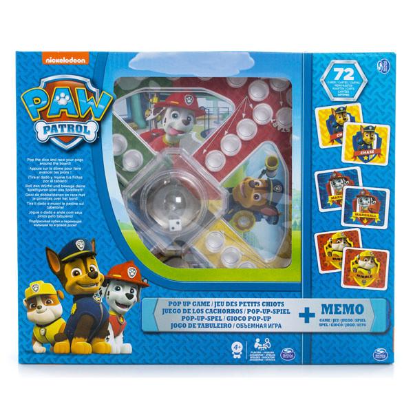 Щенячий Патруль 2-в-1 - игра с кубиком и фишками + карточки Memory
