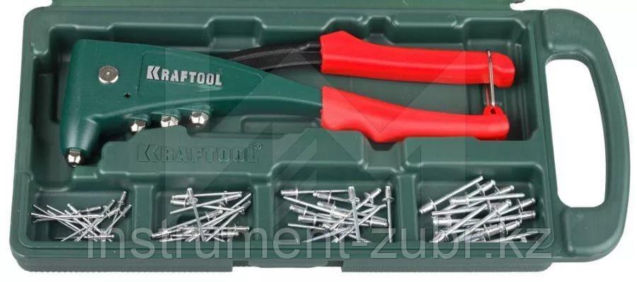 """Заклепочник, KRAFTOOL """"NX-5"""" 31173-H6, усиленный литой к d=2,4-4,8 мм - Al и сталь, d=2,4-4,0 - нерж сталь, в боксе, с набором заклепок"""