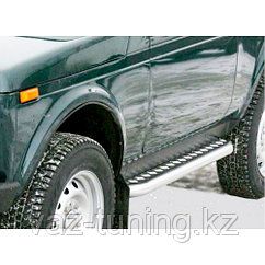 Пороги железные плоские с алюминиевым листом Лада Нива 2121,21213,21214