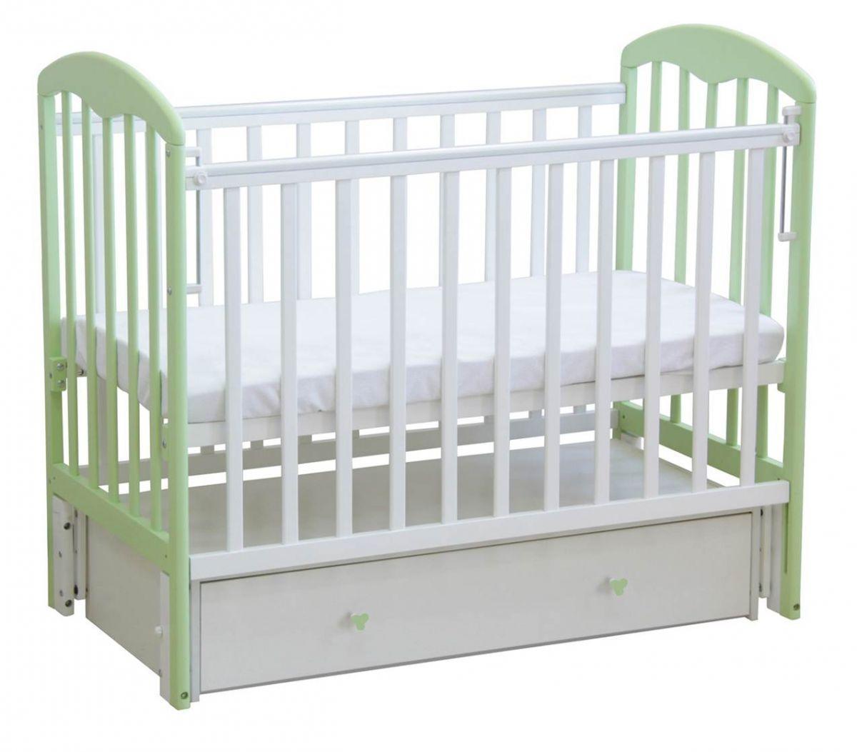 """Кровать детская Фея """"328"""", (белый-мята), состав - дерево (береза), Маятник универсальный, ящик, """"Кнопка"""""""