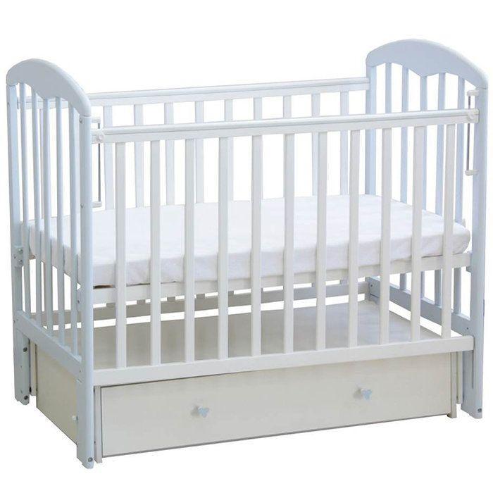 """Кровать детская Фея """"328"""", (белый), состав - дерево (береза), Маятник универсальный, ящик, """"Кнопка"""""""