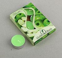 Свечи чайные ароматизированные 12 г (набор 6 шт.), яблоко