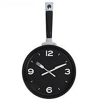 Часы настенные в форме сковороды, циферблат чёрный, микс