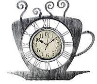 """Часы настенные кухонные """"Чашка кофейная с блюдцем"""", с напылением, хром, фото 1"""