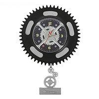 """Часы настенные детские с маятником """"Колесо и шестерёнки"""", d=27 см, фото 1"""
