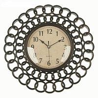 """Часы настенные """"Лепнина"""", кольца, черные 30*3*30 см"""