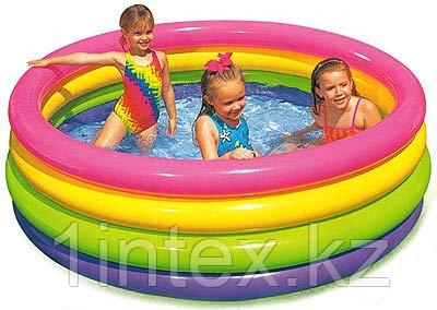 Детский бассейн с надувным дном Радуга 147х33см intex