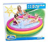 Детский бассейн с надувным дном Радуга 147х33см intex, фото 4