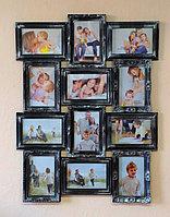 Фоторамка коллаж на 12 фото в стальном цвете, фото 1