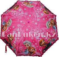 """Зонт-трость детский розовый """"Холодное Сердце"""" Эльза и Анна (класс 2)"""