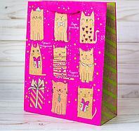 """Пакет вертикальный крафт """"Милые котики"""", 18 х 23 х 8 см"""