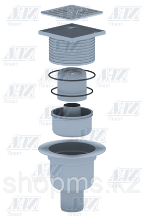 ТА5702 Трап вертикальный АНИ 50 н/ж решетка 10*10, фото 2