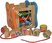 Детская развивающая деревянная игрушка со счетами (сортер)