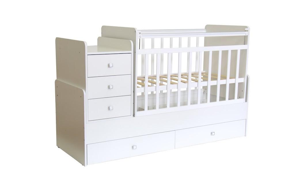 """Кроватка - трансформер Фея """"1100"""", (белый), маятник (поперечный), ящик - 2, комод - 1, пеленальный стол"""