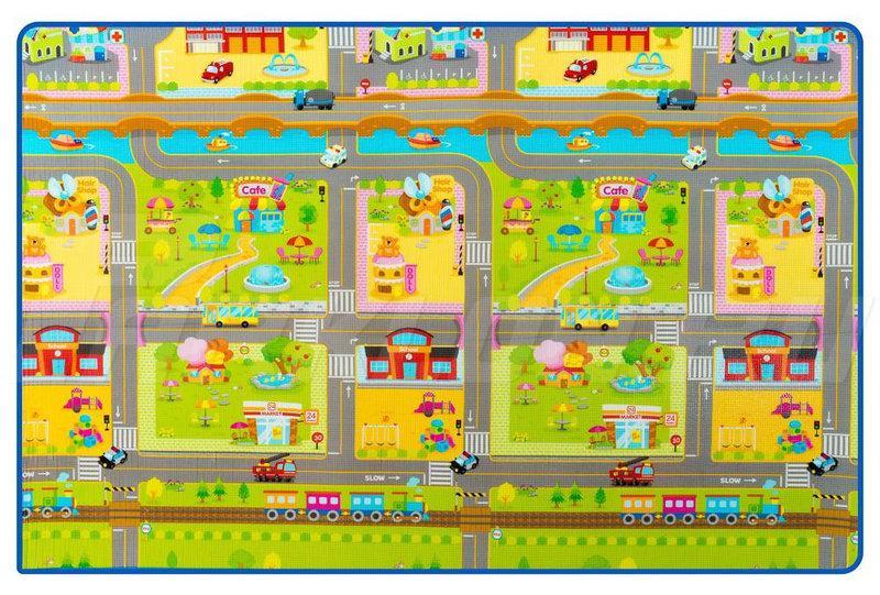 Игровой складной коврик Парклон Дороги 2*1,8м*0,5см