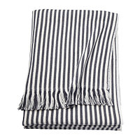 Плед  ТУВАЛИ в полоску белый, темно-серый ИКЕА IKEA, фото 1