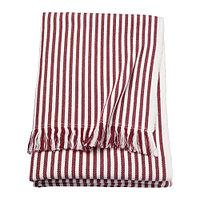 Плед  ТУВАЛИ в полоску белый, красно-коричневый ИКЕА IKEA, фото 1