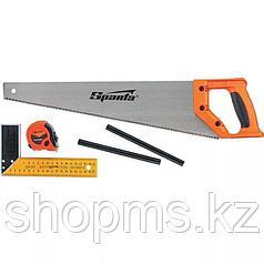 Набор столярный, 5 предм. (карандаш-2шт, ножовка 450 мм, рулетка , угольник строительный)// SPARTA