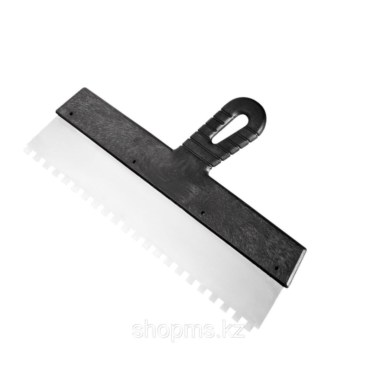 Шпатель из нержавеющей стали, 150 мм, зуб 4х4 мм, пластмассовая ручка // Россия