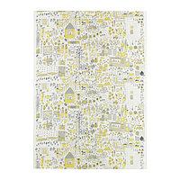 Ткань ДАГГСКОЛЬ белый/желтый, серый ИКЕА IKEA