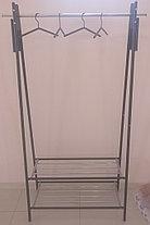Вешалка для одежды гардеробная Табыс GC 3500-4 c плечиками в комплекте и полками для обуви (серая), фото 2