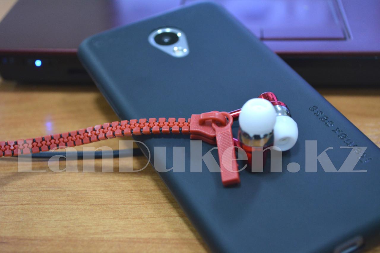Наушники-молния Zipper Earphone красные - фото 3