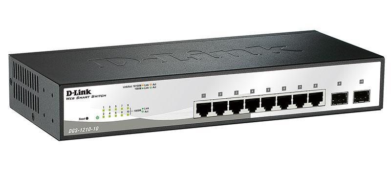 D-link DGS-1210-10 Настраиваемый коммутатор WebSmart с 8 портами 10/100/1000Base-T и 2 портами 1000Base-X SFP