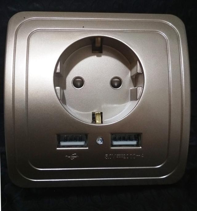 электророзетка  с USB-5-2A-золотистая