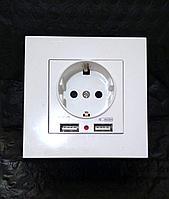 Электрическая розетка с двумя USB-портами 2100 мА, фото 1