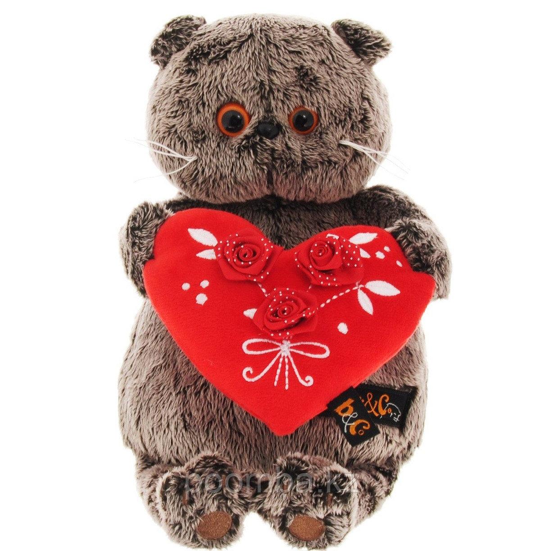 """Мягкая игрушка""""Басик с красным сердечком""""22 см"""
