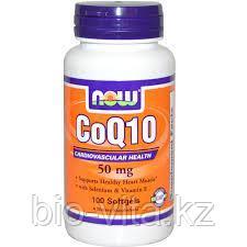 Коэнзим Q10 с вит.Е  и селеном, 50 мг, 100 желатиновых капсул.  Now Foods