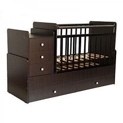 """Кроватка - трансформер Фея """"1100"""", (венге), маятник (поперечный), комод, пеленальный стол, ящик - 2"""